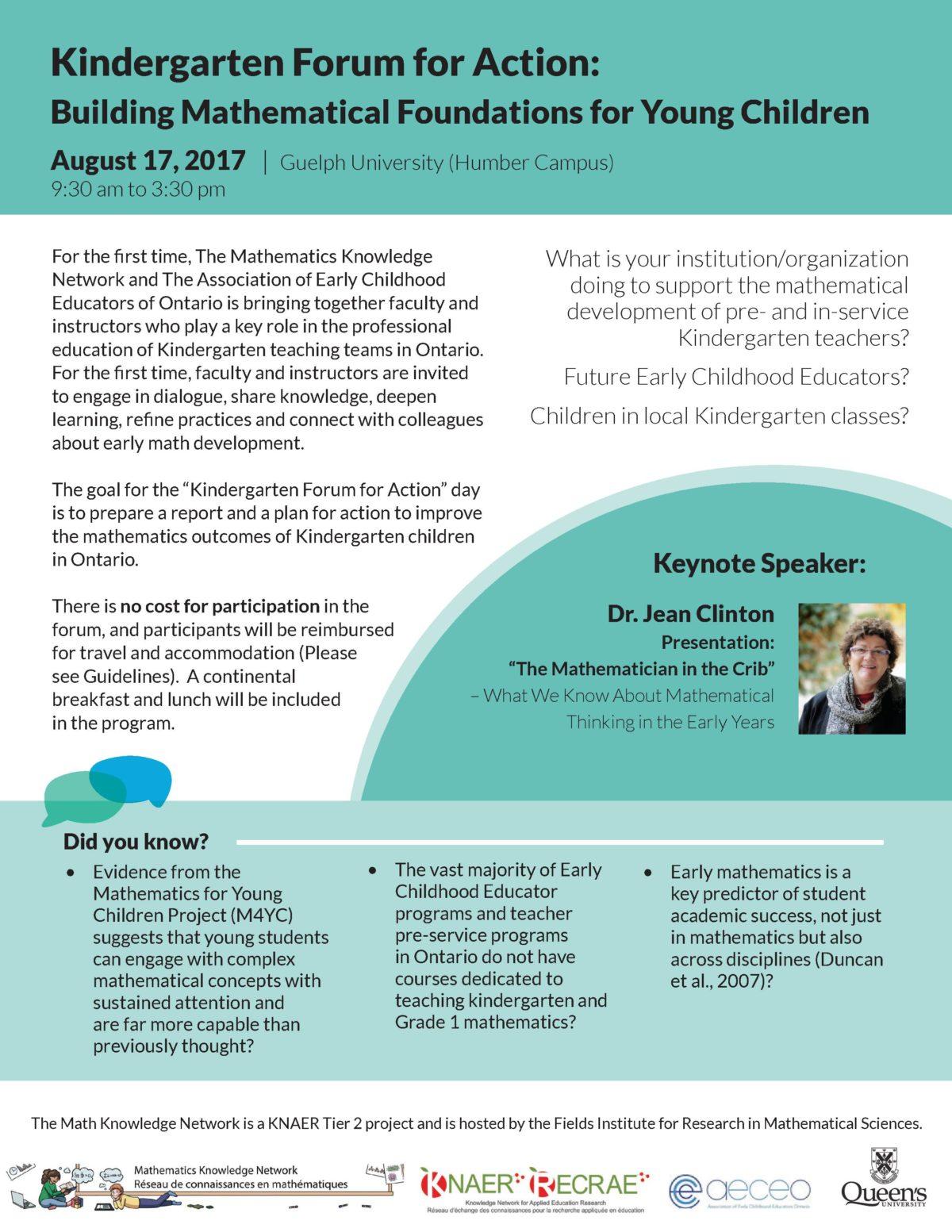 Kindergarten Forum for Action – Math Knowledge Network