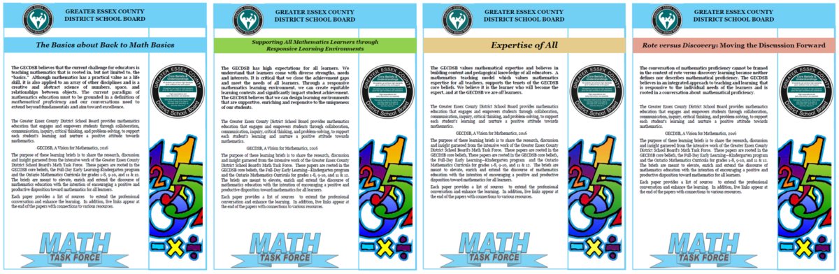 GECDSB's Vision for Mathematics