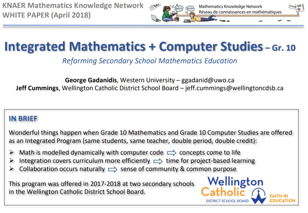 Integrated Math + Computer Studies in Grade 10